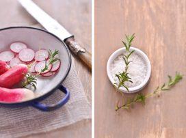 Salade printanière : millet, radis, carottes et épinards