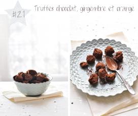 Les truffes au chocolat, gingembre et orange confite
