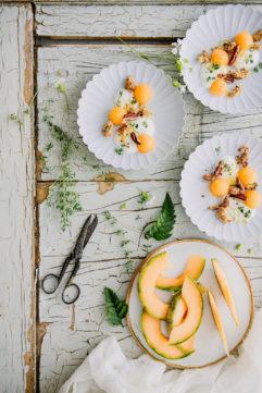 Dessert à l'assiette au melon